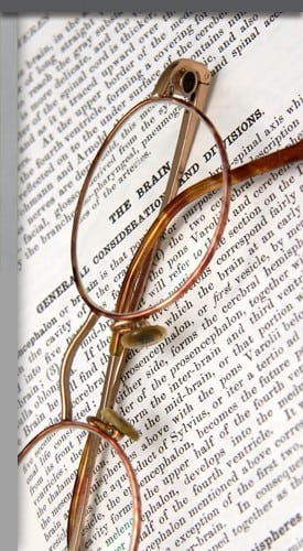 Glasses on a legal document